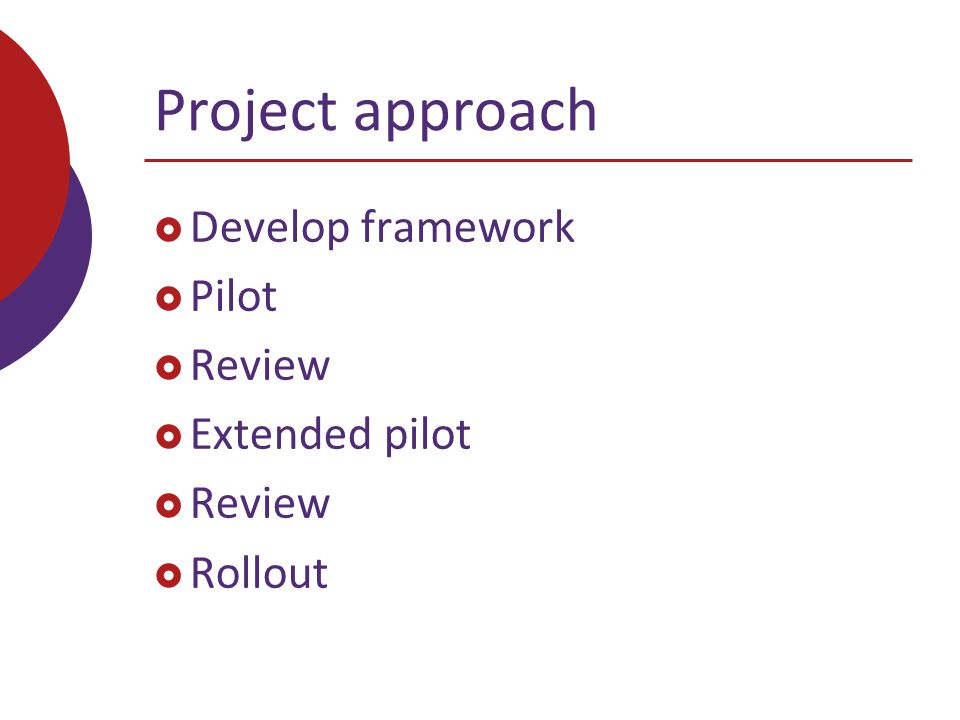 Project approach  Develop framework  Pilot  Review  Extended pilot  Review  Rollout