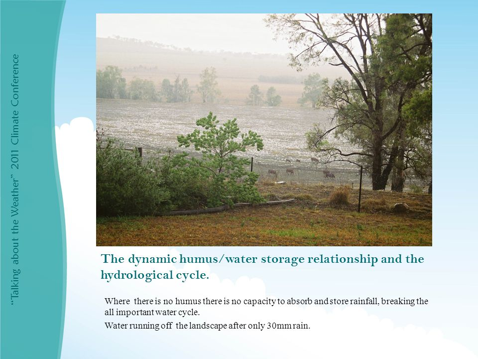 """Talking about the Weather"" 2011 Climate Conference The dynamic humus/water storage relationship and the hydrological cycle. Where there is no humus t"