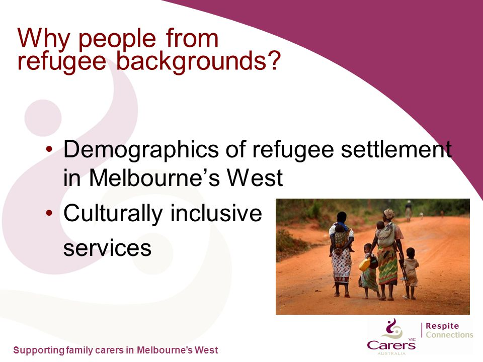 Supporting family carers in Melbourne's West Why people from refugee backgrounds.