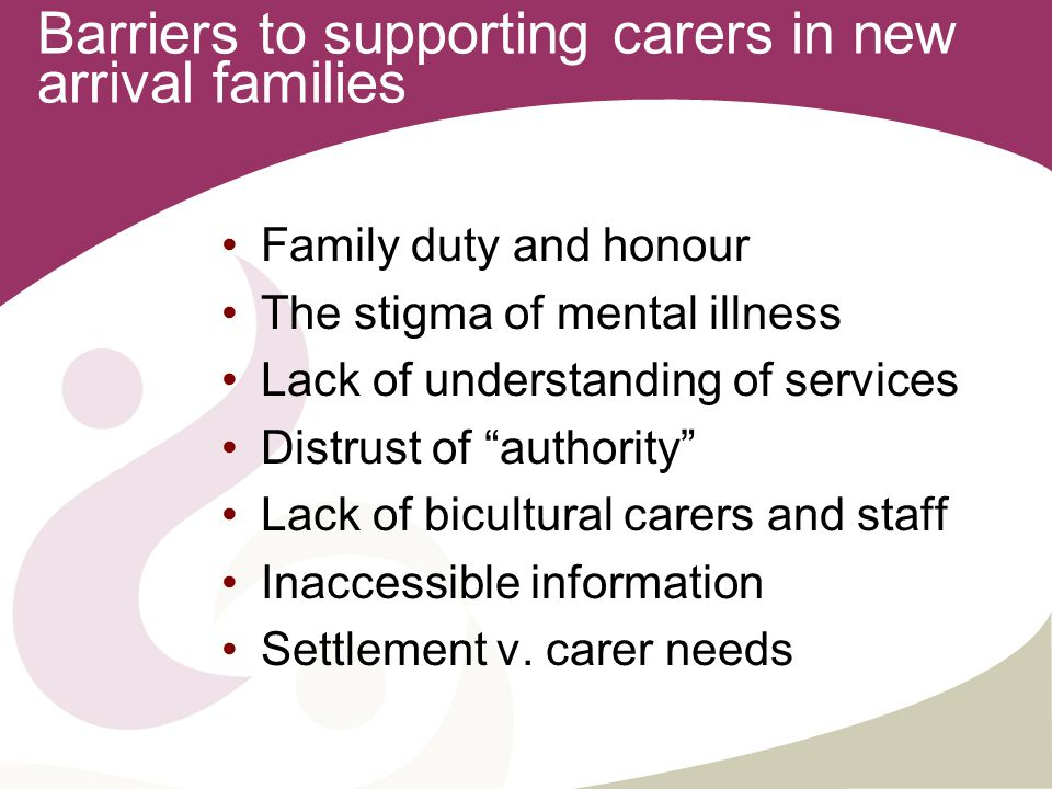 Barriers to supporting carers in new arrival families Family duty and honour The stigma of mental illness Lack of understanding of services Distrust of authority Lack of bicultural carers and staff Inaccessible information Settlement v.