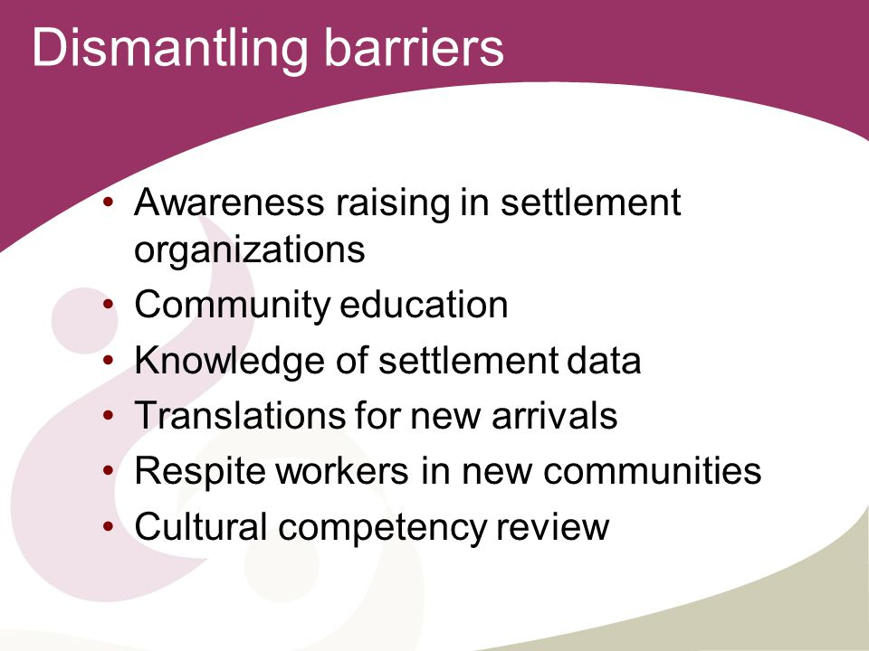 Dismantling barriers Awareness raising in settlement organizations Community education Knowledge of settlement data Translations for new arrivals Respite workers in new communities Cultural competency review