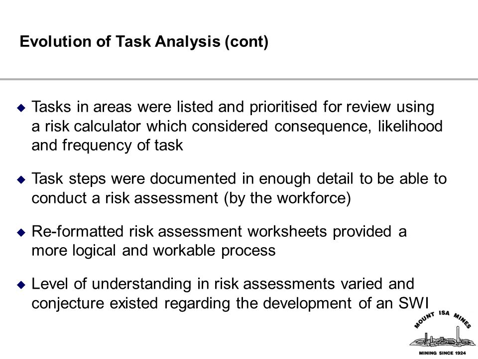 Evolution of Task Analysis (cont)  Tasks in areas were listed and prioritised for review using a risk calculator which considered consequence, likelihood and frequency of task  Task steps were documented in enough detail to be able to conduct a risk assessment (by the workforce)  Re-formatted risk assessment worksheets provided a more logical and workable process  Level of understanding in risk assessments varied and conjecture existed regarding the development of an SWI