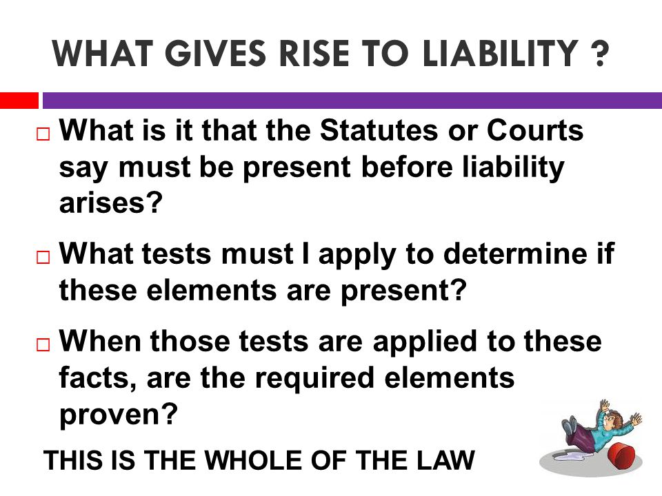 WHAT GIVES RISE TO LIABILITY .