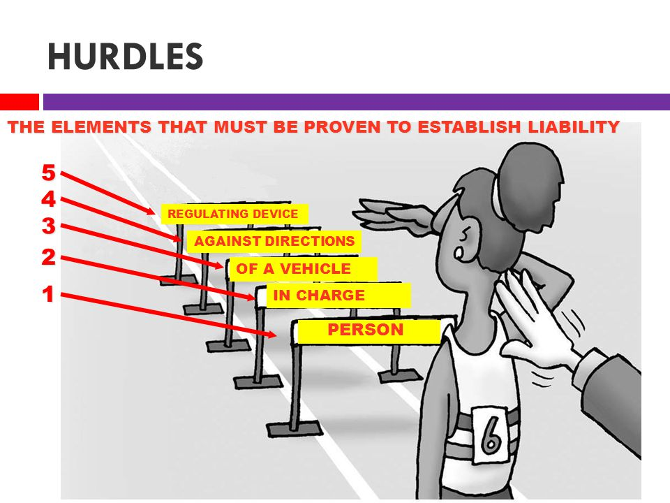 HURDLES PERSON IN CHARGE OF A VEHICLE REGULATING DEVICE AGAINST DIRECTIONS THE ELEMENTS THAT MUST BE PROVEN TO ESTABLISH LIABILITY 2 1 3 4 5
