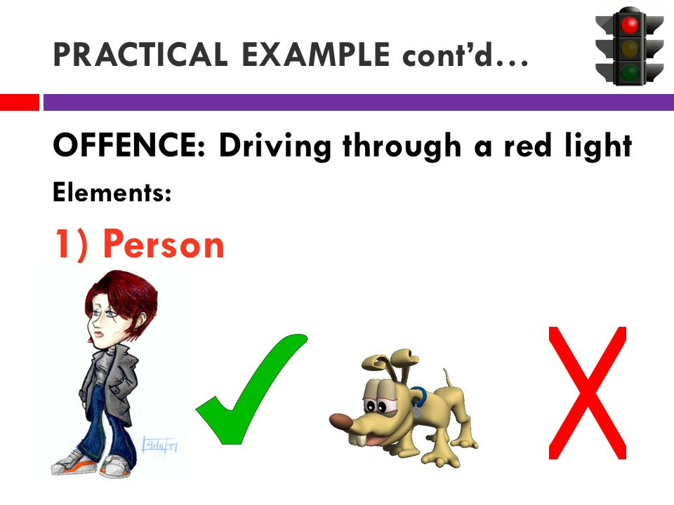 PRACTICAL EXAMPLE cont'd… OFFENCE: Driving through a red light Elements: 1) Person