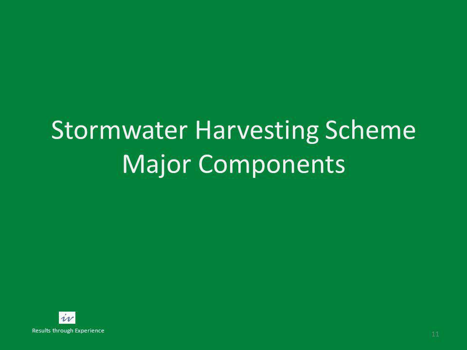 Stormwater Harvesting Scheme Major Components 11 Results through Experience