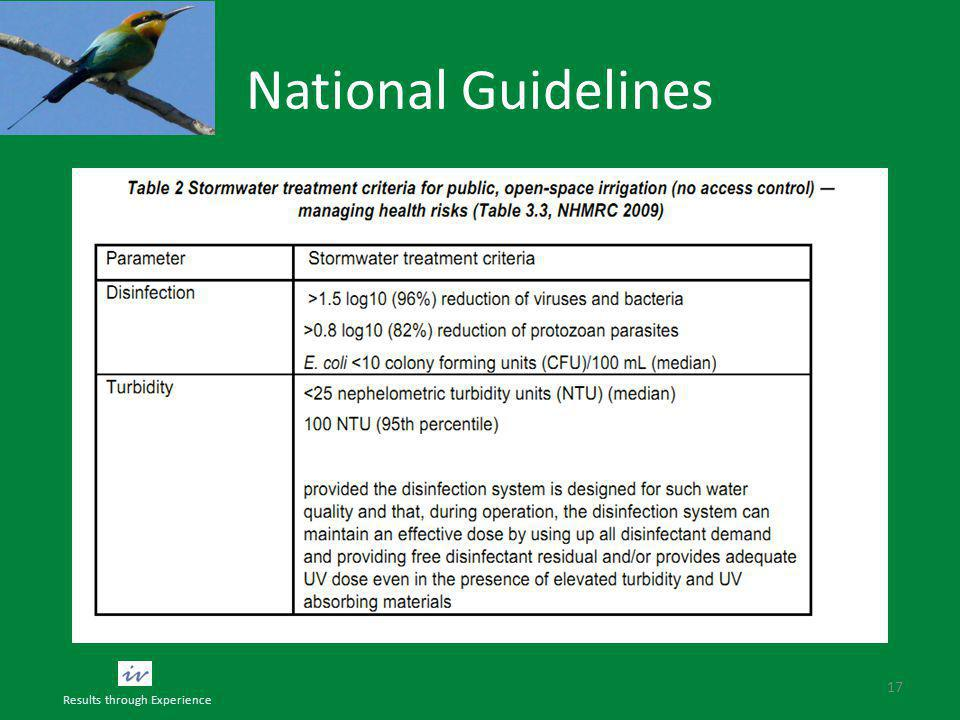 National Guidelines 17 Results through Experience