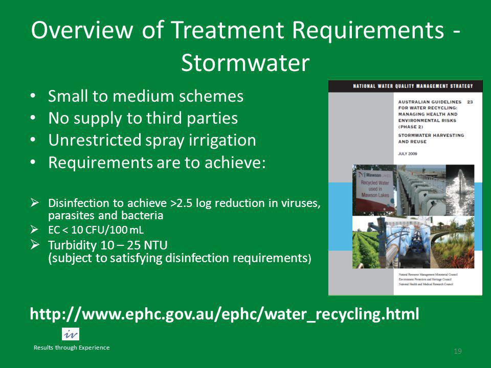 Overview of Treatment Requirements - Stormwater Small to medium schemes No supply to third parties Unrestricted spray irrigation Requirements are to achieve:  Disinfection to achieve >2.5 log reduction in viruses, parasites and bacteria  EC < 10 CFU/100 mL  Turbidity 10 – 25 NTU (subject to satisfying disinfection requirements ) http://www.ephc.gov.au/ephc/water_recycling.html 19 Results through Experience