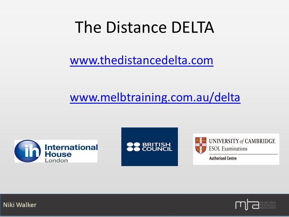 The Distance DELTA www.thedistancedelta.com www.melbtraining.com.au/delta