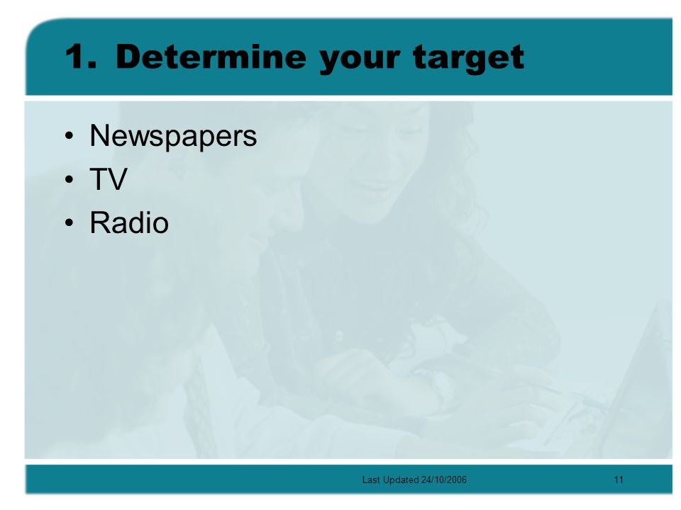 Last Updated 24/10/200611 1.Determine your target Newspapers TV Radio