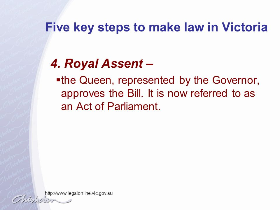 Five key steps to make law in Victoria 5.