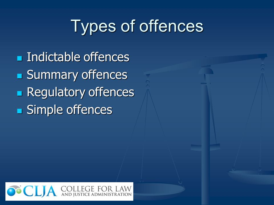 Types of offences Indictable offences Indictable offences Summary offences Summary offences Regulatory offences Regulatory offences Simple offences Si
