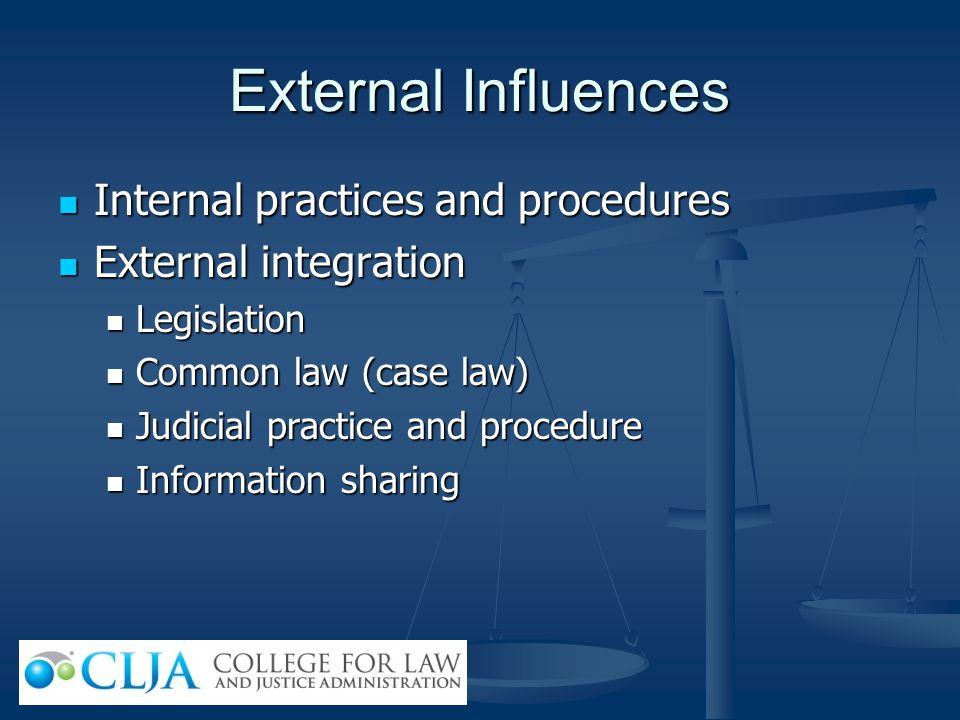 External Influences Internal practices and procedures Internal practices and procedures External integration External integration Legislation Legislat