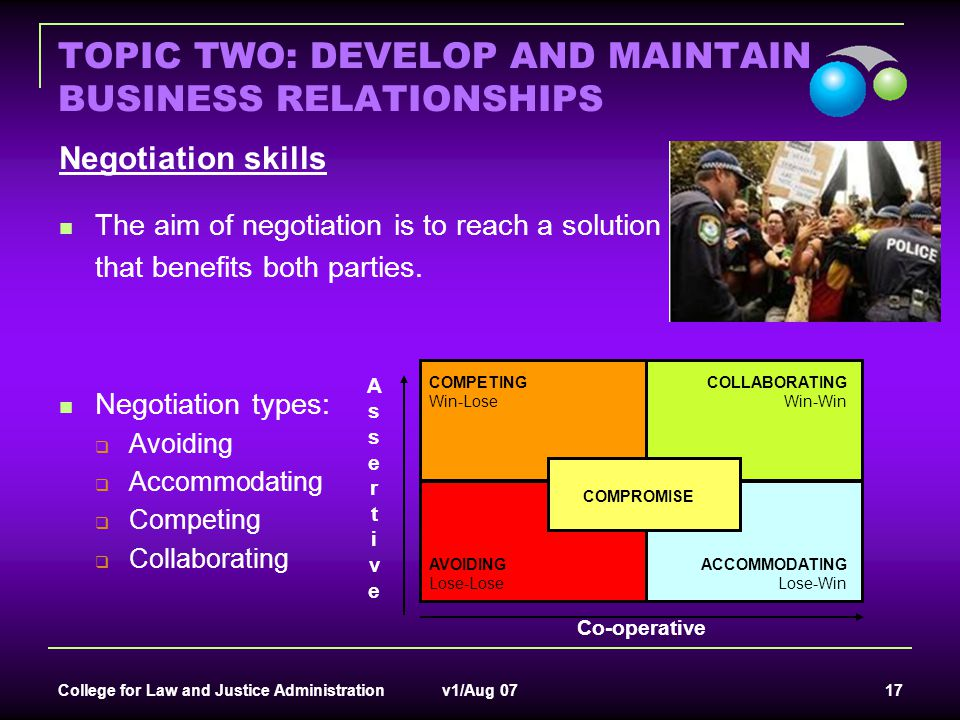 College for Law and Justice Administration v1/Aug 07 17 TOPIC TWO: DEVELOP AND MAINTAIN BUSINESS RELATIONSHIPS Negotiation skills The aim of negotiati