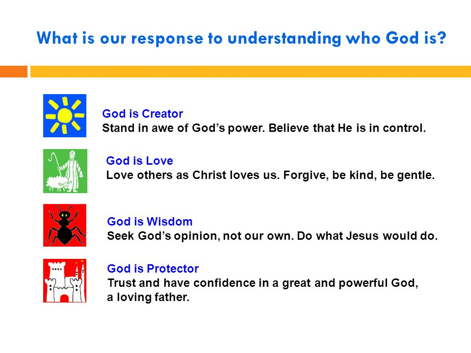 What is our response to understanding who God is. God is Creator Stand in awe of God's power.