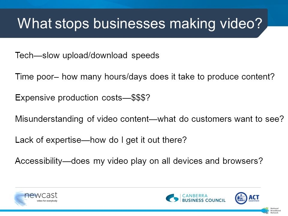 What stops businesses making video.