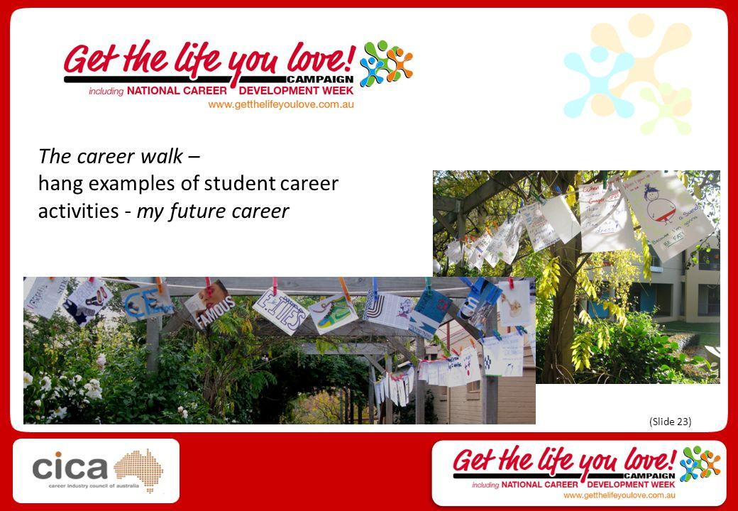 The career walk – hang examples of student career activities - my future career (Slide 23)