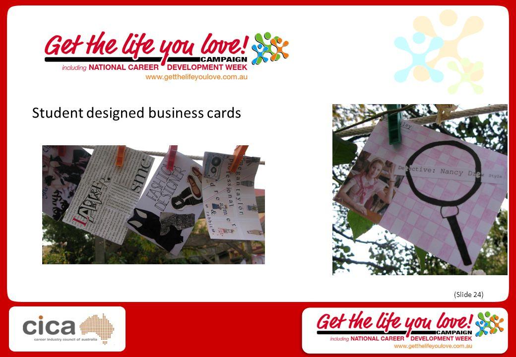 Student designed business cards (Slide 24)