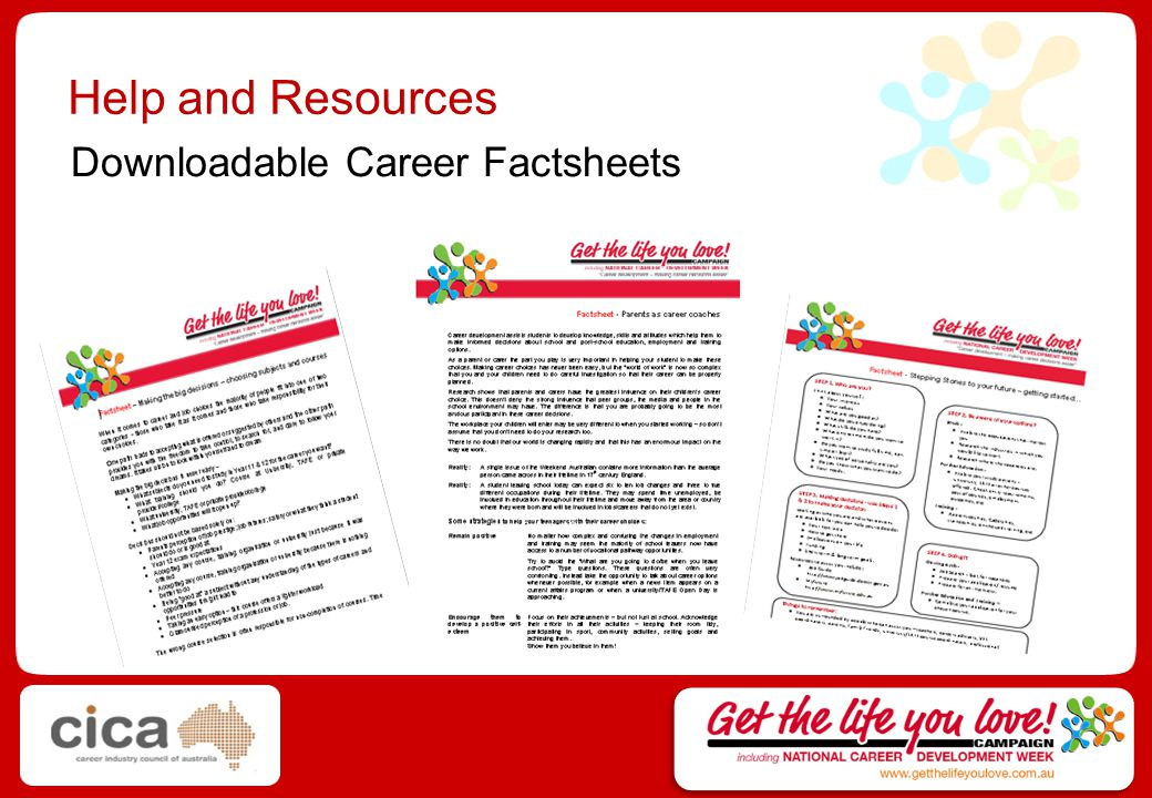 Help and Resources Downloadable Career Factsheets