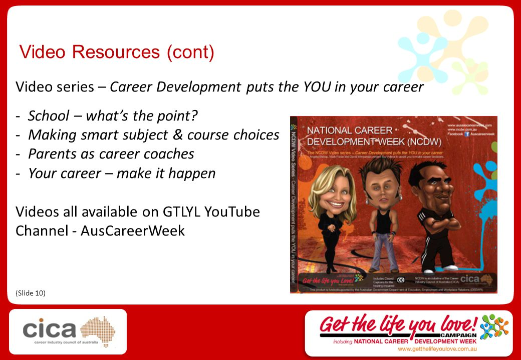 Video Resources (cont) GTLYL Video Series, including: Eddie McGuire Sam Sheppard David Wirrapanda Courtney Hancock & Preston Campbell Soul Mystique (Gavin Skinner & Lydia Lim) Michael Lynch (coming in November 2011) Kate Southam (coming in November 2011) Videos all available on GTLYL YouTube Channel - AusCareerWeek (Slide 11)