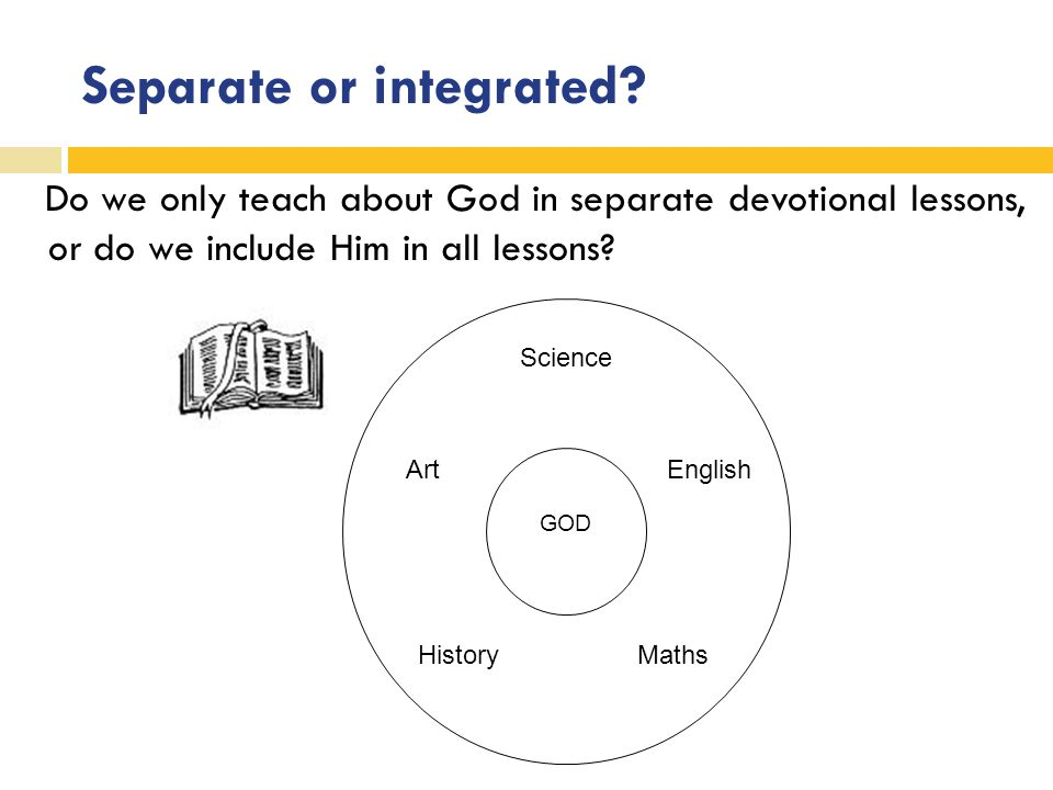 Separate or integrated? Do we only teach about God in separate devotional lessons, or do we include Him in all lessons? GOD History Science Art Maths