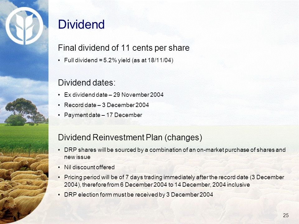 25 Dividend Final dividend of 11 cents per share Full dividend = 5.2% yield (as at 18/11/04) Dividend dates: Ex dividend date – 29 November 2004 Record date – 3 December 2004 Payment date – 17 December Dividend Reinvestment Plan (changes) DRP shares will be sourced by a combination of an on-market purchase of shares and new issue Nil discount offered Pricing period will be of 7 days trading immediately after the record date (3 December 2004), therefore from 6 December 2004 to 14 December, 2004 inclusive DRP election form must be received by 3 December 2004