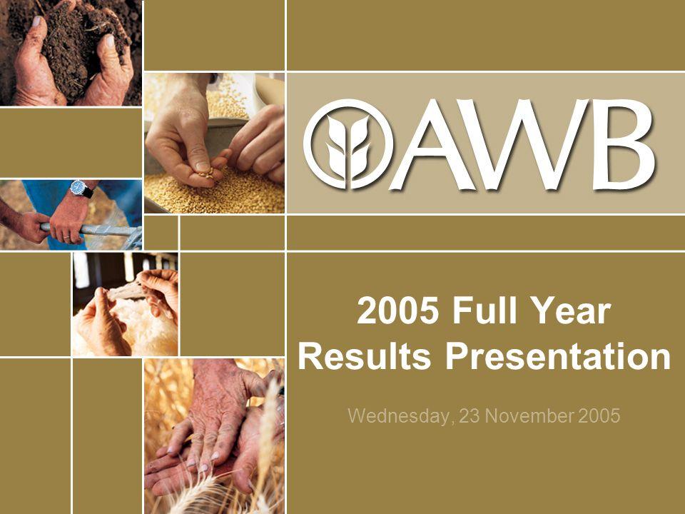 2005 Full Year Results Presentation Wednesday, 23 November 2005