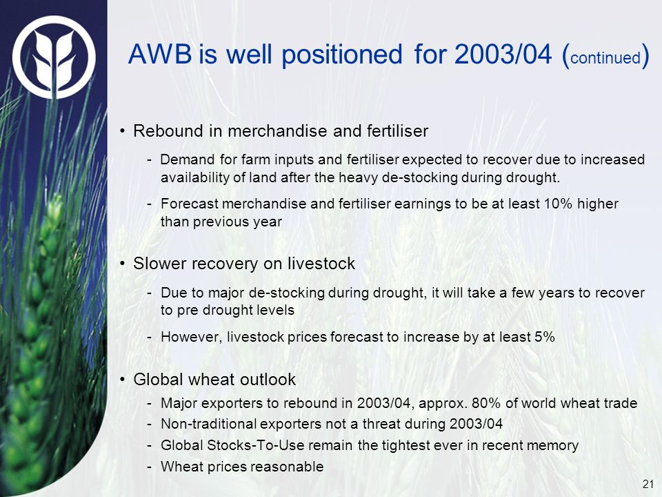 21 AWB is well positioned for 2003/04 ( continued ) Rebound in merchandise and fertiliser - Demand for farm inputs and fertiliser expected to recover due to increased availability of land after the heavy de-stocking during drought.