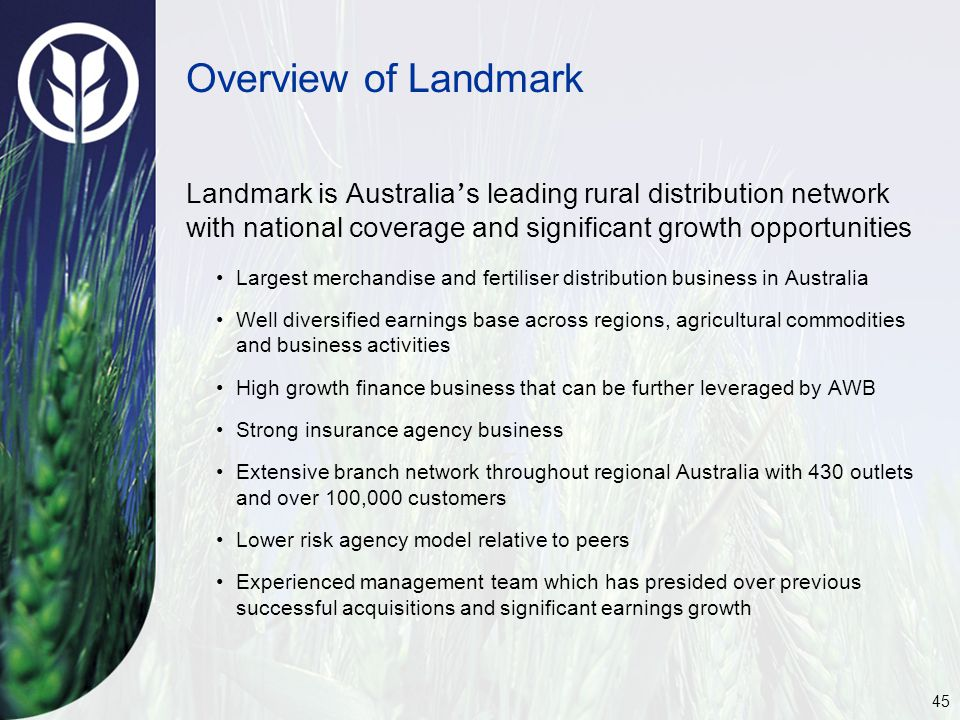 45 Overview of Landmark Landmark is Australia ' s leading rural distribution network with national coverage and significant growth opportunities Largest merchandise and fertiliser distribution business in Australia Well diversified earnings base across regions, agricultural commodities and business activities High growth finance business that can be further leveraged by AWB Strong insurance agency business Extensive branch network throughout regional Australia with 430 outlets and over 100,000 customers Lower risk agency model relative to peers Experienced management team which has presided over previous successful acquisitions and significant earnings growth