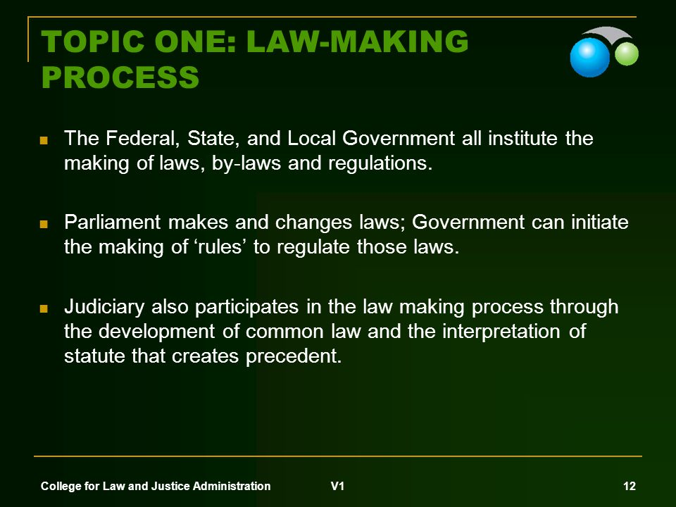 College for Law and Justice Administration V1 11 TOPIC ONE: LAW-MAKING PROCESS