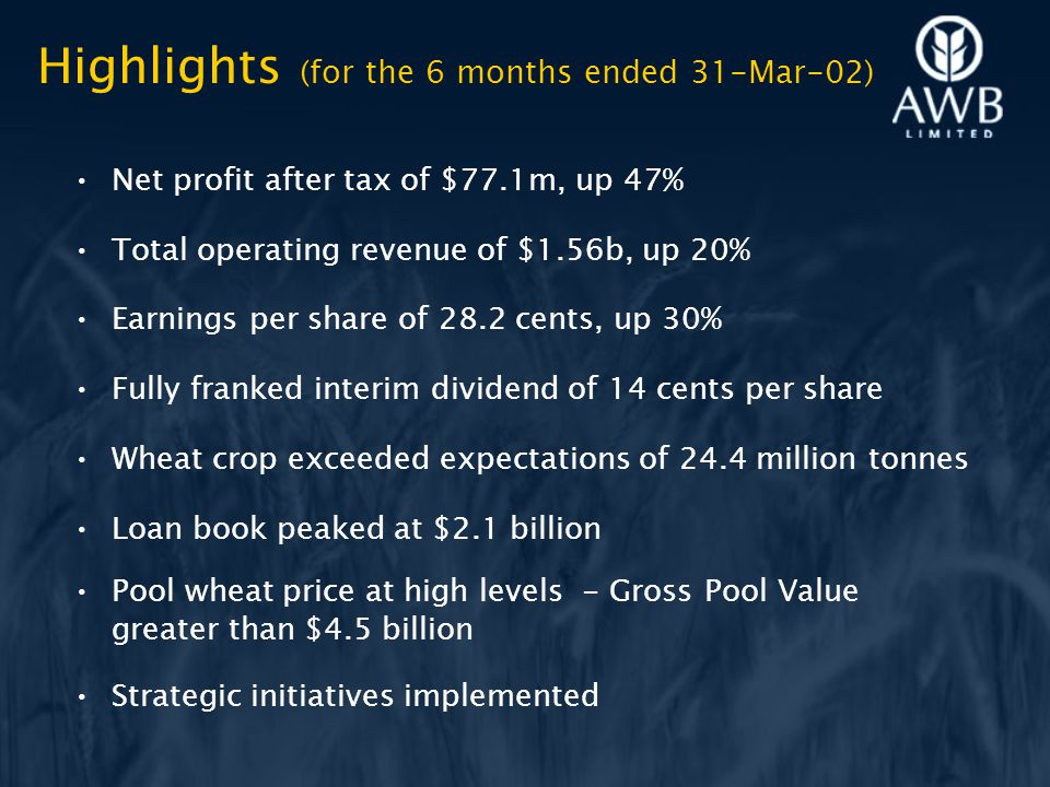 Highlights (for the 6 months ended 31-Mar-02) Net profit after tax of $77.1m, up 47% Total operating revenue of $1.56b, up 20% Earnings per share of 28.2 cents, up 30% Fully franked interim dividend of 14 cents per share Wheat crop exceeded expectations of 24.4 million tonnes Loan book peaked at $2.1 billion Pool wheat price at high levels - Gross Pool Value greater than $4.5 billion Strategic initiatives implemented