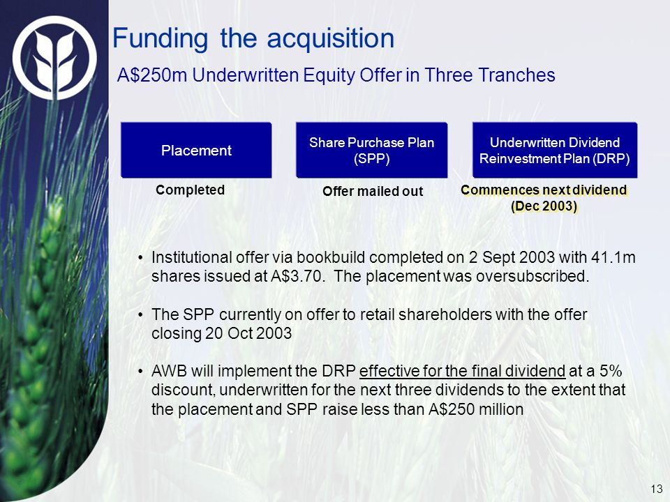 13 Funding the acquisition A$250m Underwritten Equity Offer in Three Tranches Institutional offer via bookbuild completed on 2 Sept 2003 with 41.1m sh