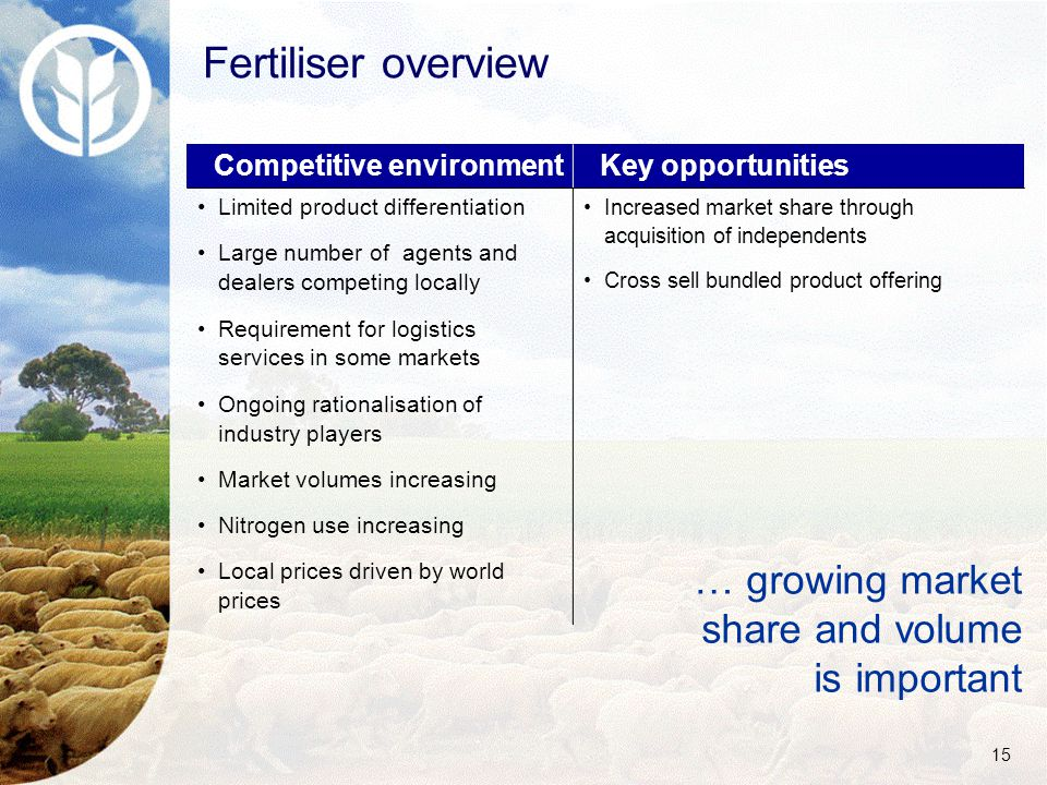 15 Fertiliser overview Competitive environment Key opportunities Limited product differentiation Large number of agents and dealers competing locally Requirement for logistics services in some markets Ongoing rationalisation of industry players Market volumes increasing Nitrogen use increasing Local prices driven by world prices Increased market share through acquisition of independents Cross sell bundled product offering … growing market share and volume is important