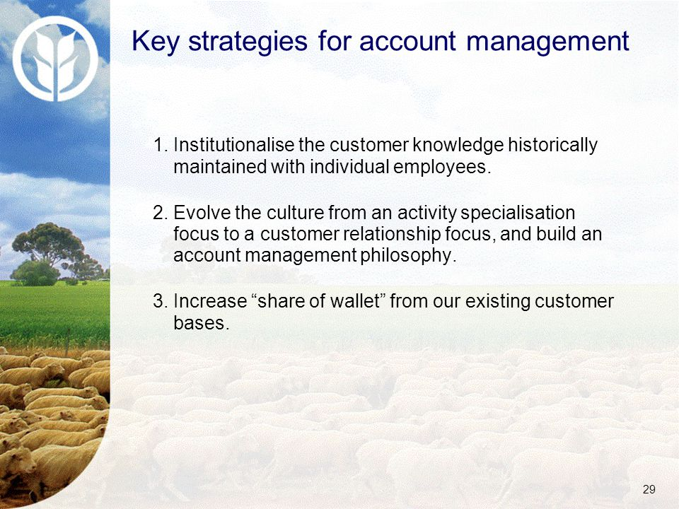 29 1.Institutionalise the customer knowledge historically maintained with individual employees.