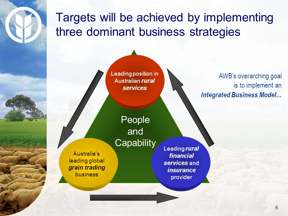 6 Targets will be achieved by implementing three dominant business strategies AWB's overarching goal is to implement an Integrated Business Model...