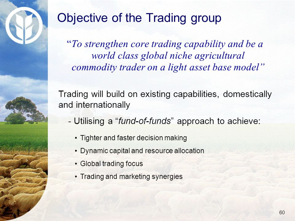 60 To strengthen core trading capability and be a world class global niche agricultural commodity trader on a light asset base model Trading will build on existing capabilities, domestically and internationally - Utilising a fund-of-funds approach to achieve: Tighter and faster decision making Dynamic capital and resource allocation Global trading focus Trading and marketing synergies Objective of the Trading group