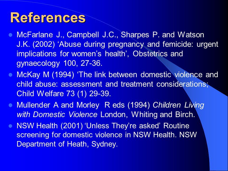 References McFarlane J., Campbell J.C., Sharpes P.