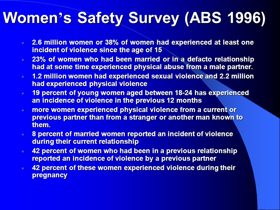 Women ' s Safety Survey (ABS 1996)  2.6 million women or 38% of women had experienced at least one incident of violence since the age of 15  23% of women who had been married or in a defacto relationship had at some time experienced physical abuse from a male partner.