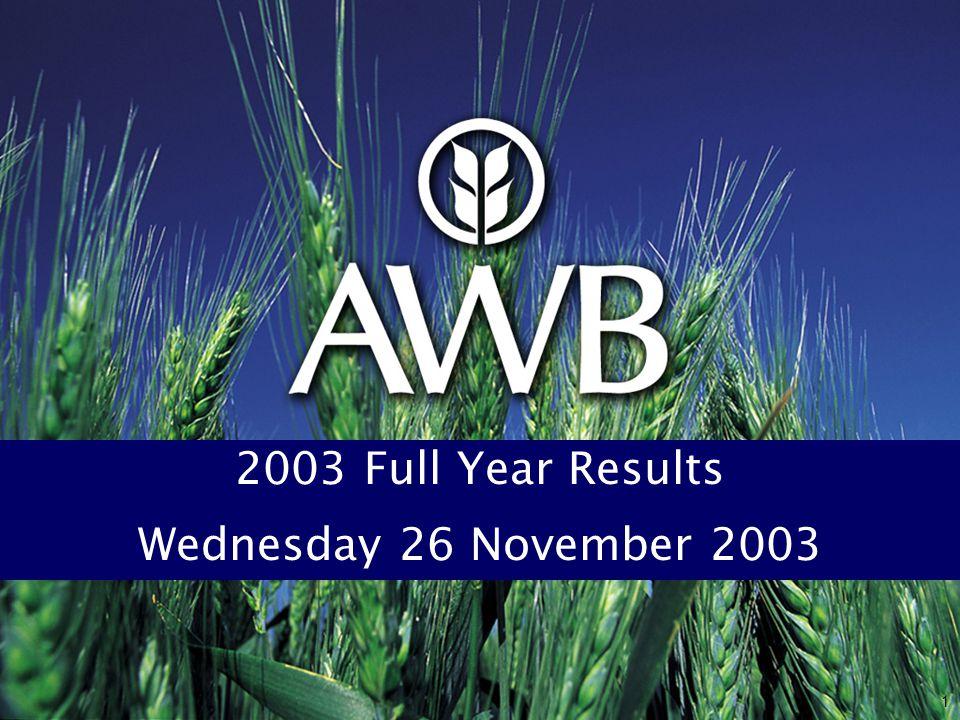 1 2003 Full Year Results Wednesday 26 November 2003