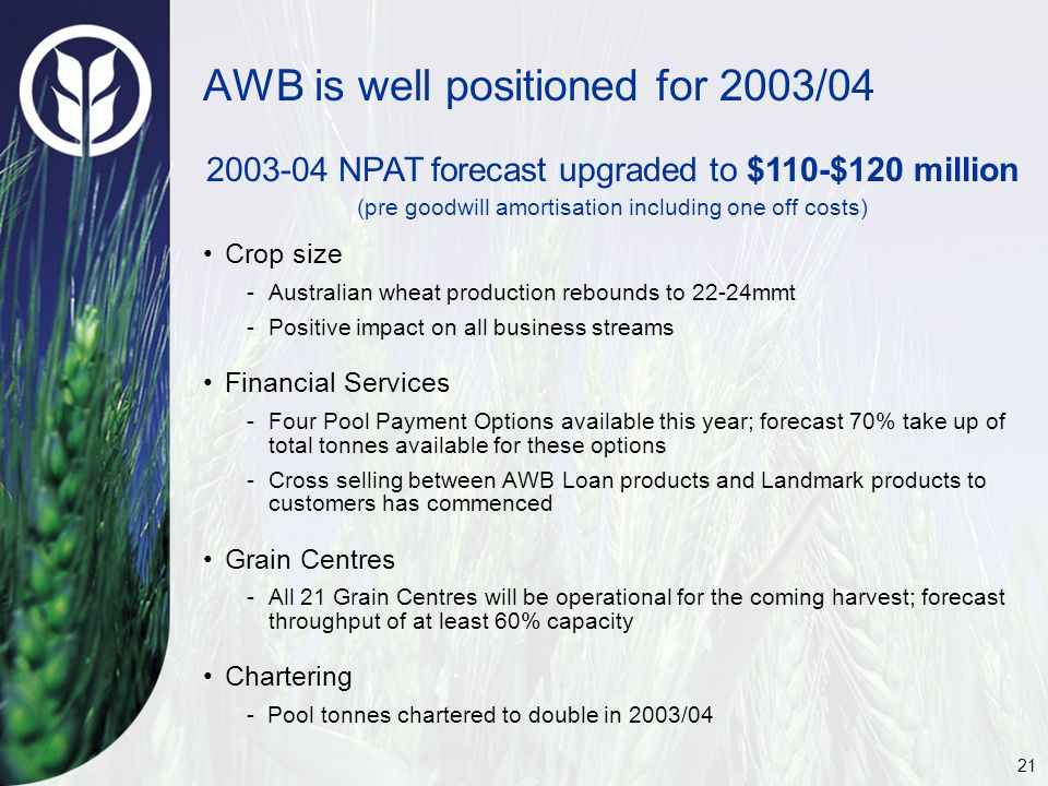 21 AWB is well positioned for 2003/04 Crop size -Australian wheat production rebounds to 22-24mmt -Positive impact on all business streams Financial Services -Four Pool Payment Options available this year; forecast 70% take up of total tonnes available for these options -Cross selling between AWB Loan products and Landmark products to customers has commenced Grain Centres -All 21 Grain Centres will be operational for the coming harvest; forecast throughput of at least 60% capacity Chartering - Pool tonnes chartered to double in 2003/04 2003-04 NPAT forecast upgraded to $110-$120 million (pre goodwill amortisation including one off costs)
