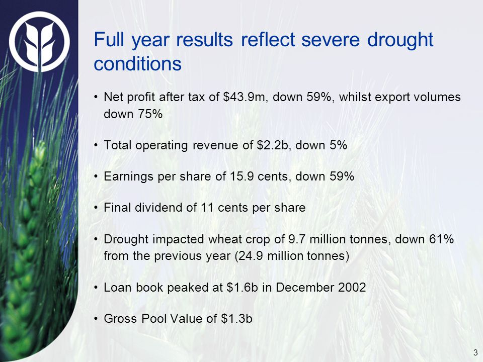 3 Full year results reflect severe drought conditions Net profit after tax of $43.9m, down 59%, whilst export volumes down 75% Total operating revenue of $2.2b, down 5% Earnings per share of 15.9 cents, down 59% Final dividend of 11 cents per share Drought impacted wheat crop of 9.7 million tonnes, down 61% from the previous year (24.9 million tonnes) Loan book peaked at $1.6b in December 2002 Gross Pool Value of $1.3b