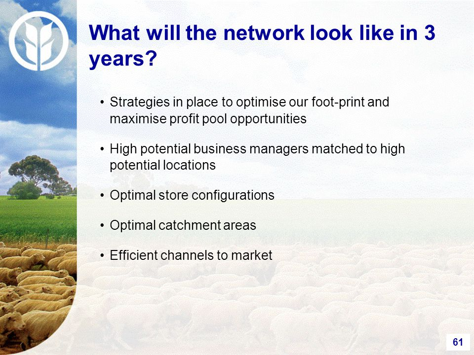 61 Strategies in place to optimise our foot-print and maximise profit pool opportunities High potential business managers matched to high potential locations Optimal store configurations Optimal catchment areas Efficient channels to market What will the network look like in 3 years?
