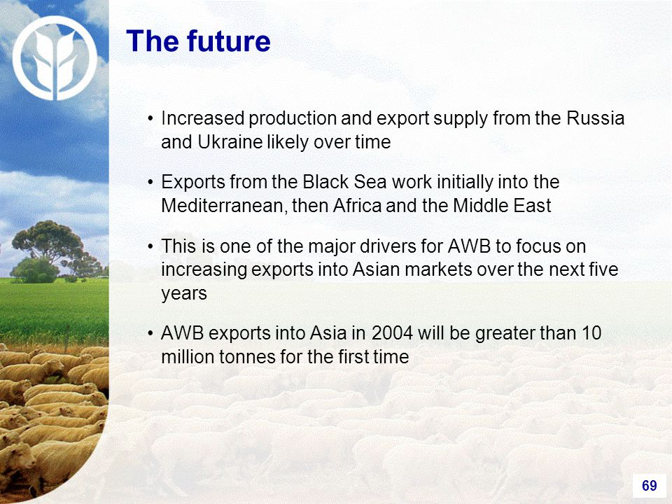 69 The future Increased production and export supply from the Russia and Ukraine likely over time Exports from the Black Sea work initially into the Mediterranean, then Africa and the Middle East This is one of the major drivers for AWB to focus on increasing exports into Asian markets over the next five years AWB exports into Asia in 2004 will be greater than 10 million tonnes for the first time