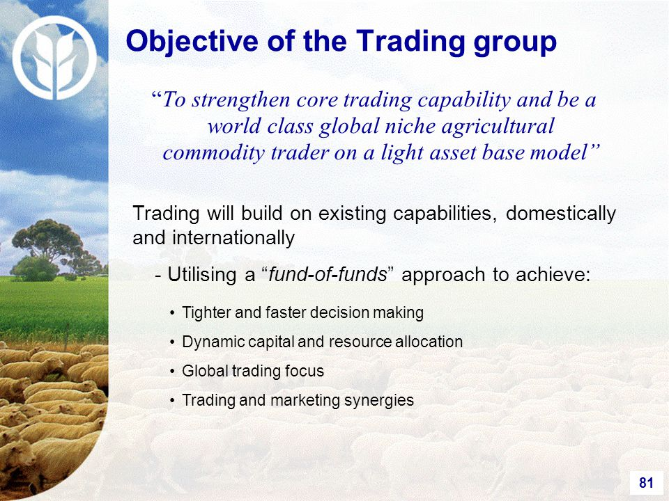 81 To strengthen core trading capability and be a world class global niche agricultural commodity trader on a light asset base model Trading will build on existing capabilities, domestically and internationally - Utilising a fund-of-funds approach to achieve: Tighter and faster decision making Dynamic capital and resource allocation Global trading focus Trading and marketing synergies Objective of the Trading group