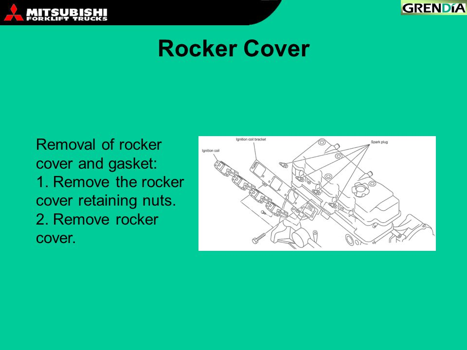 Rocker Cover Removal of rocker cover and gasket: 1. Remove the rocker cover retaining nuts. 2. Remove rocker cover.