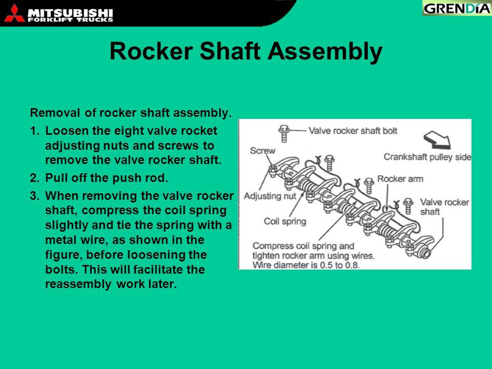 Rocker Shaft Assembly Removal of rocker shaft assembly. 1.Loosen the eight valve rocket adjusting nuts and screws to remove the valve rocker shaft. 2.