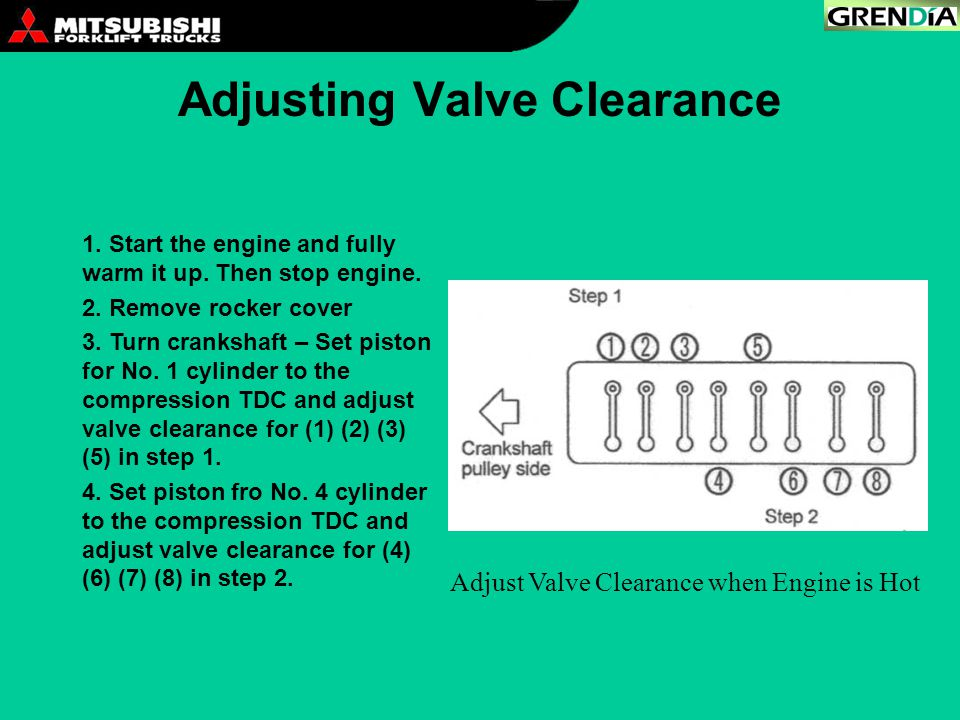 Adjusting Valve Clearance 1. Start the engine and fully warm it up. Then stop engine. 2. Remove rocker cover 3. Turn crankshaft – Set piston for No. 1