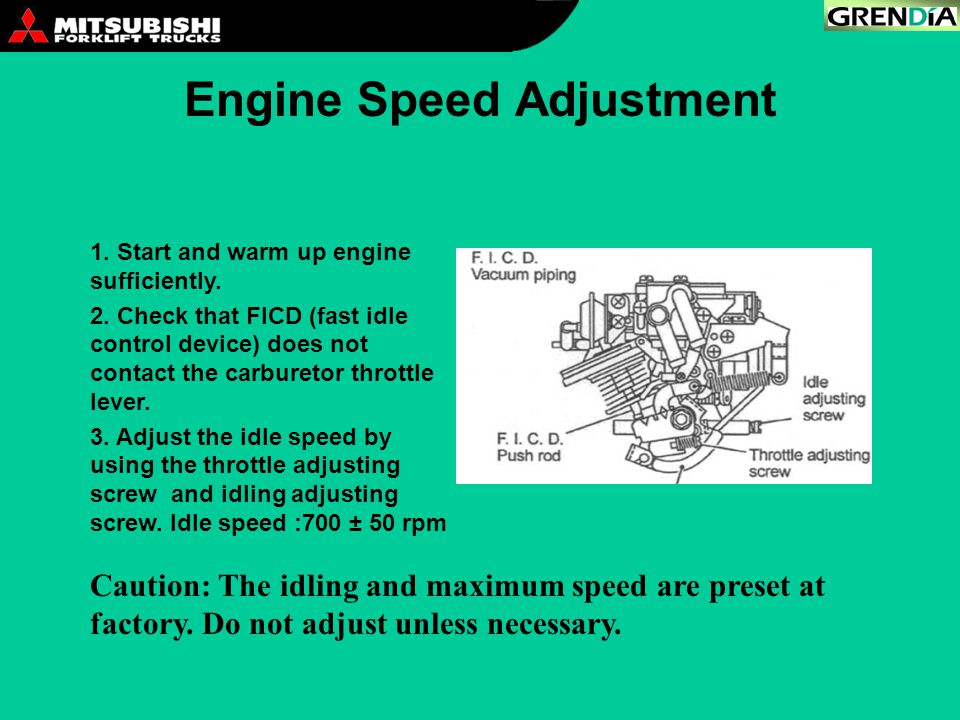 Engine Speed Adjustment 1. Start and warm up engine sufficiently. 2. Check that FICD (fast idle control device) does not contact the carburetor thrott