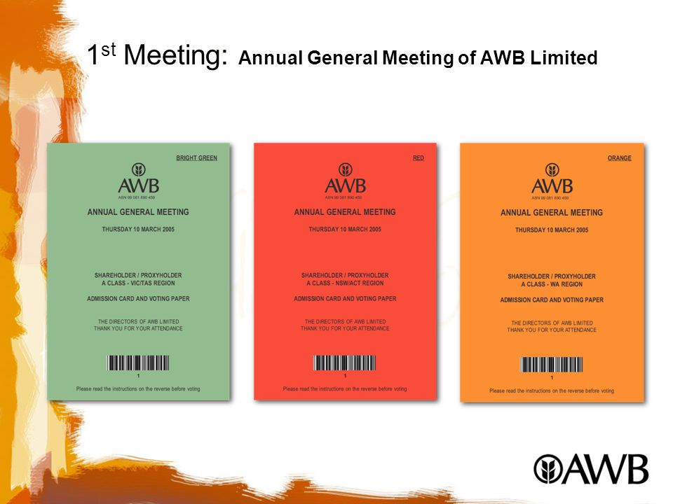 1 st Meeting: Annual General Meeting of AWB Limited