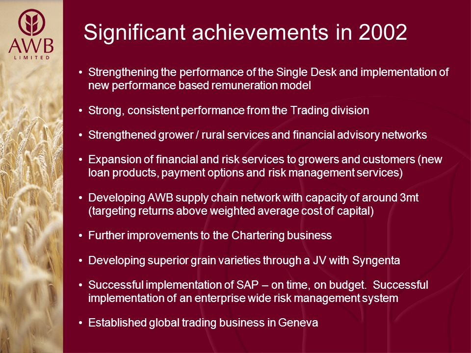 Significant achievements in 2002 Strengthening the performance of the Single Desk and implementation of new performance based remuneration model Strong, consistent performance from the Trading division Strengthened grower / rural services and financial advisory networks Expansion of financial and risk services to growers and customers (new loan products, payment options and risk management services) Developing AWB supply chain network with capacity of around 3mt (targeting returns above weighted average cost of capital) Further improvements to the Chartering business Developing superior grain varieties through a JV with Syngenta Successful implementation of SAP – on time, on budget.